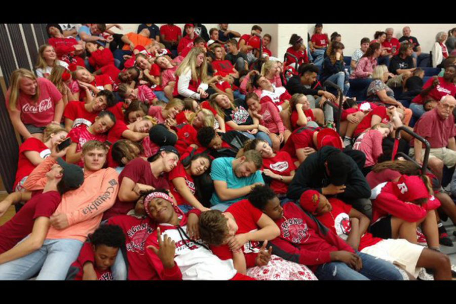 The student section sleeping while  the Seton starters are announced.