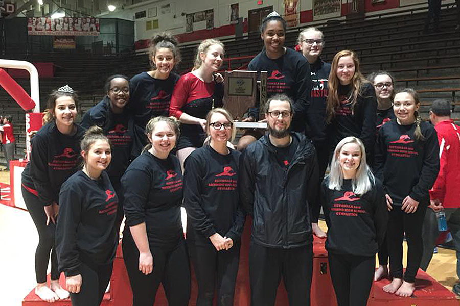 The gymnastics team won its first Sectional since 1985 on Saturday, February 24 in Connersville.