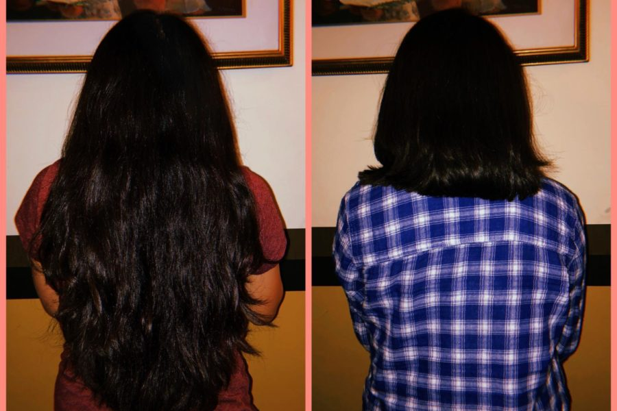The before (left side) and after (right side) of my hair donation to the organization Wigs for Kids.