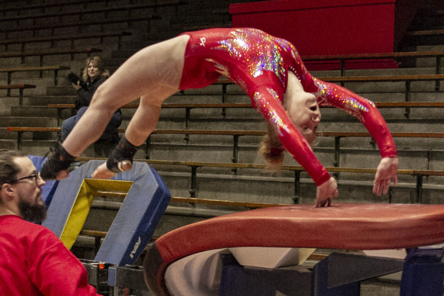 Getting+ready+to+hit+the+vault+table%2C+freshman+Liz+Ruger+completes+one+of+her+vaults+at+the+Connersville+Sectional.+Ruger+led+the+team%2C+finishing+1st+in+the+All-Around+at+the+Sectional%2C+and+taking+2nd+in+the+All-Around+at+the+Regional.+The+team+competes+in+the+State+meet+on+Saturday+at+Noblesville+High+School.