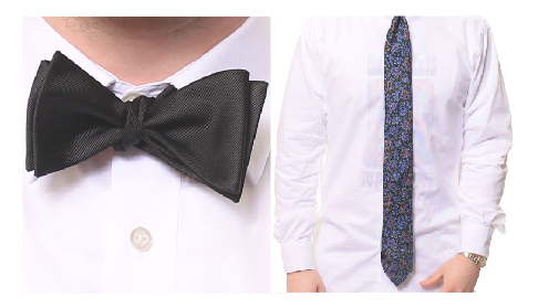 Image of a bow tie and a long tie after going through each step for tieing them
