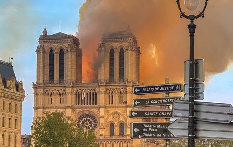 A view of the Notre Dame fire from the iconic front of the cathedral. As the fire rages, Paris watches on as nothing can be done to stop the blazes.