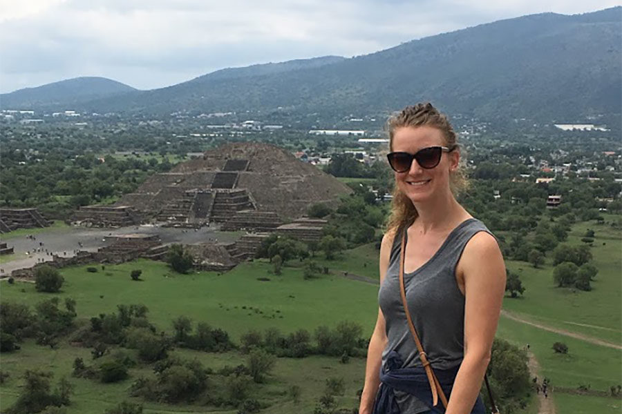I am standing on top of the Aztec Pyramid of the Sun!  The Pyramid of the Moon is behind me in the distance.