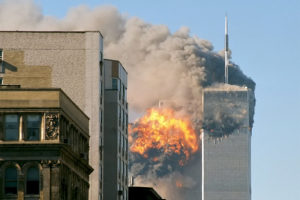 Image showing the Twin Towers on fire after the terrorist attack.