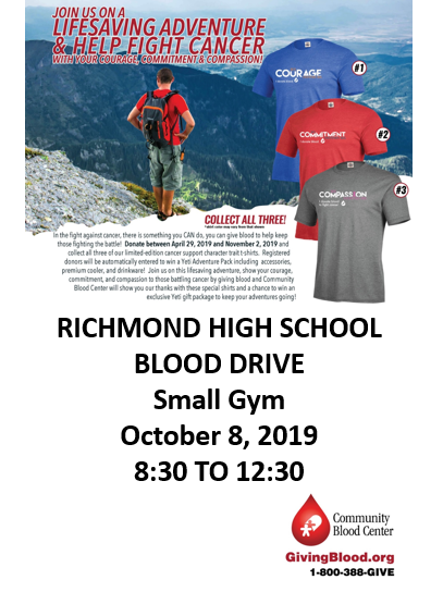 2019 blood drive flyer.